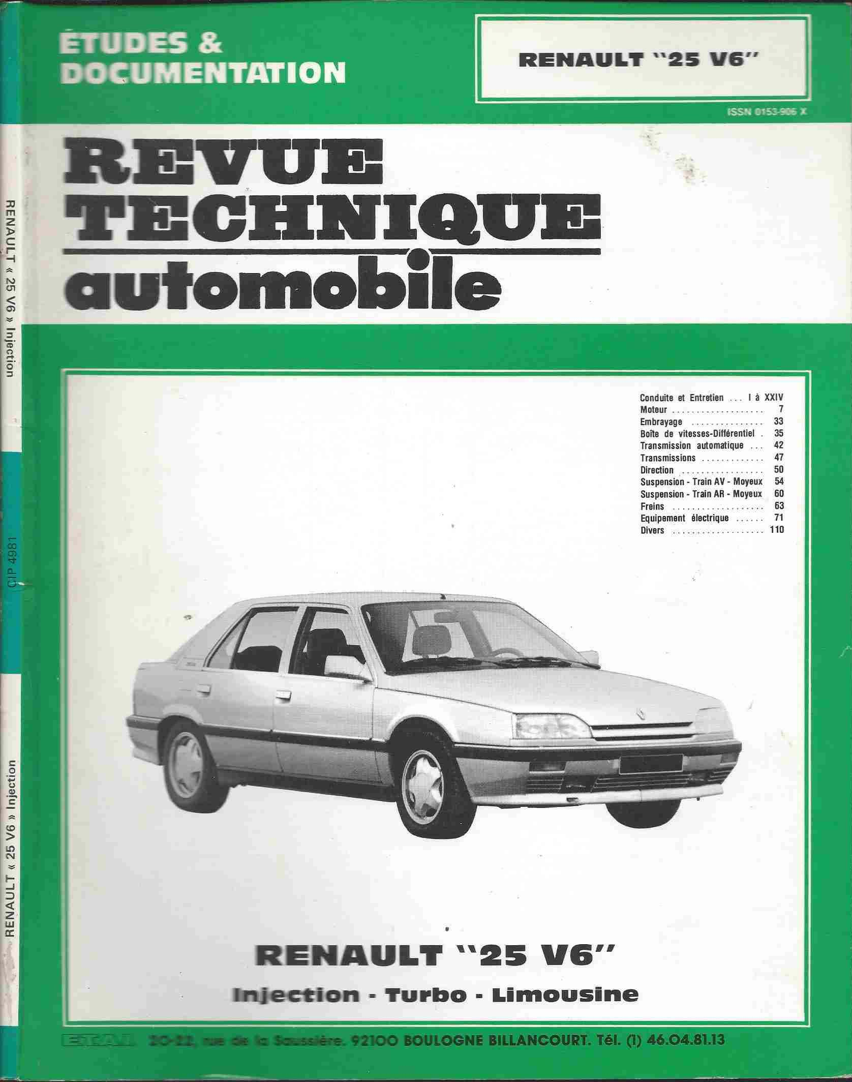Revue technique automobile : renault 25 V6: Collectif: 9789470030007: Amazon.com: Books