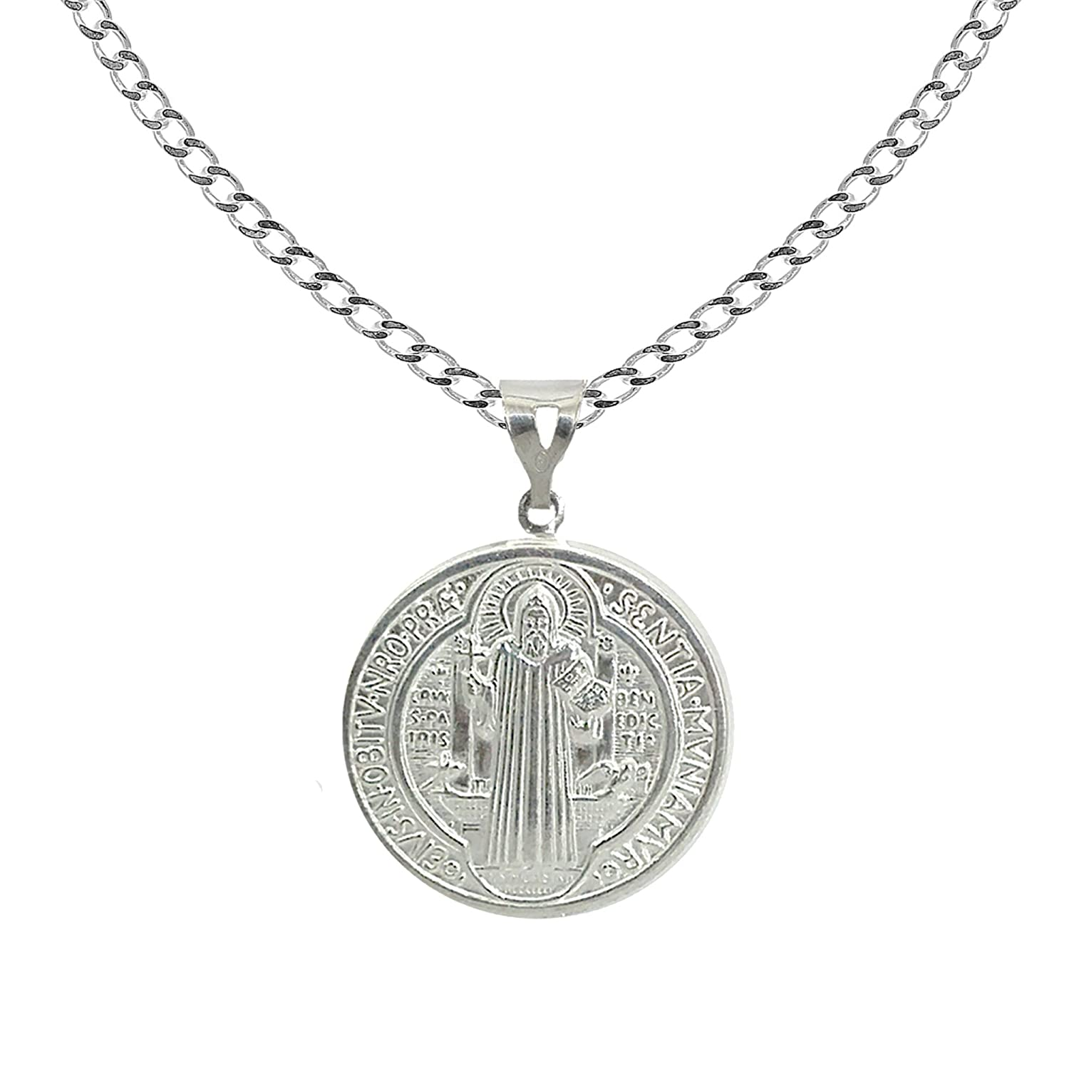 Sterling Silver San Benito St Saint Benedict Medallion Medal 11, 15 or 20MM Charm Necklace