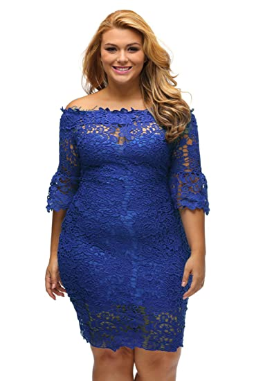 Womens Royal Blue Hollow Out Floral Lace Plus Off Shoulder Dress Size 12: Amazon.co.uk: Clothing