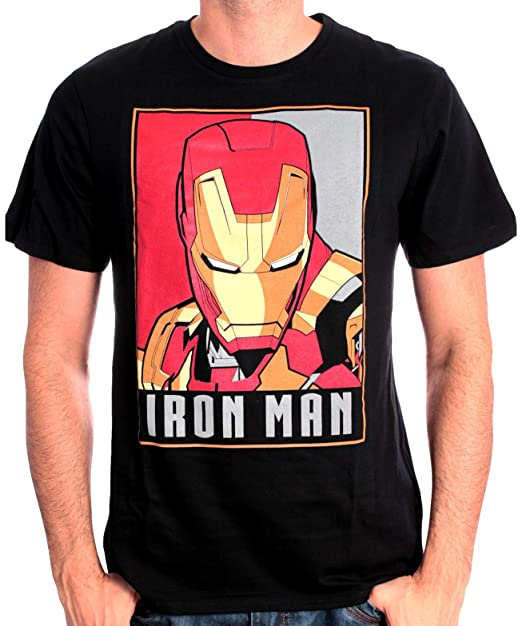 Marvel Iron Man Obey, T-Shirt Uomo, Nero, Small