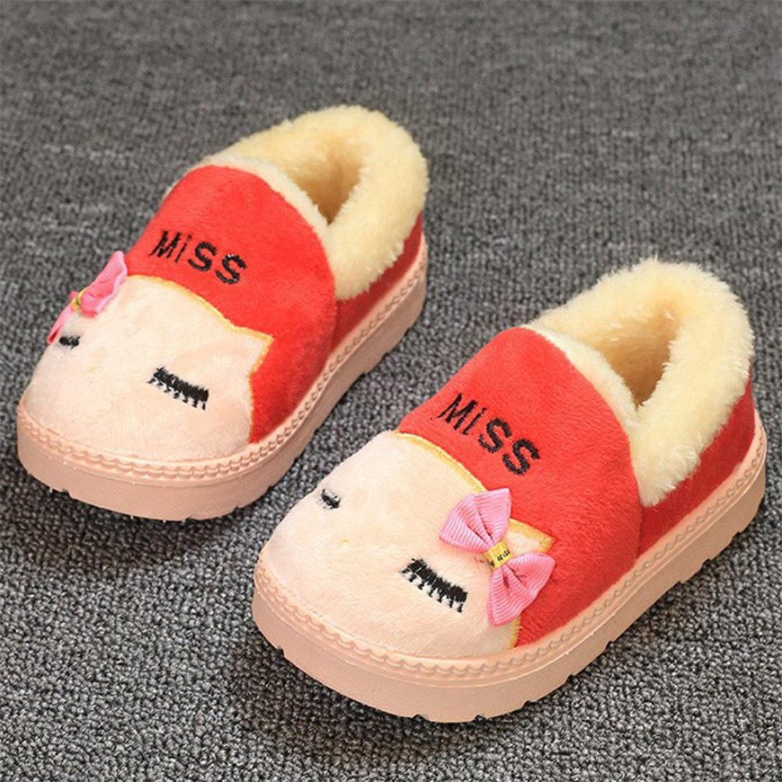 HANYI Infant Toddler Baby Girls Boys Cute Winter Plush Soft Sole Non-Slip Snow Boots Warm Velvet Bowknot Shoes
