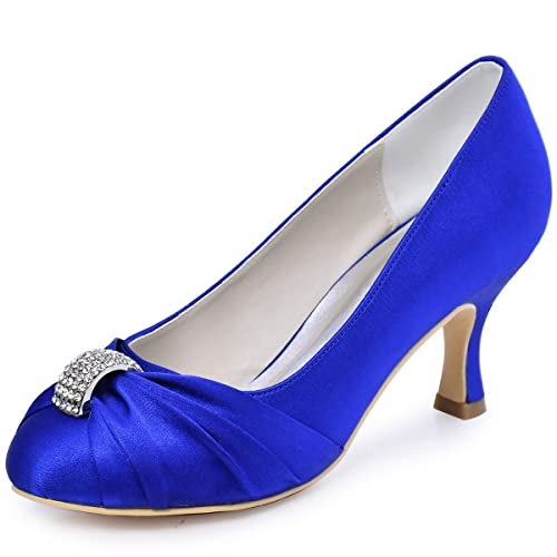 Elegantpark Womens Pumps Satin Rhinestones Closed Toe Mid Heel Wedding Party Dress Court Shoes
