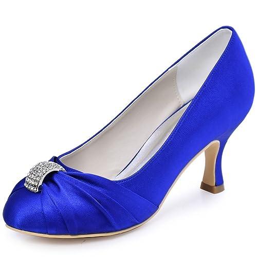 ElegantPark HC1526 Mujer's Punta Chiusa Tal¨®n Medio Plisado Rhinestones Sat¨¦n Partido De Tarde Zapatillas Blue 39 wFzyh