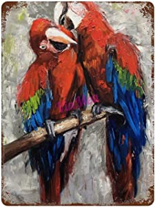 Vintage Iron Painting Sweet Couple, A Pair of Parrots on A Branch, A Picture with Birds Retro Metal Signs Poster Wall Decor for Bar Cafe Home Garage 16×12 inches
