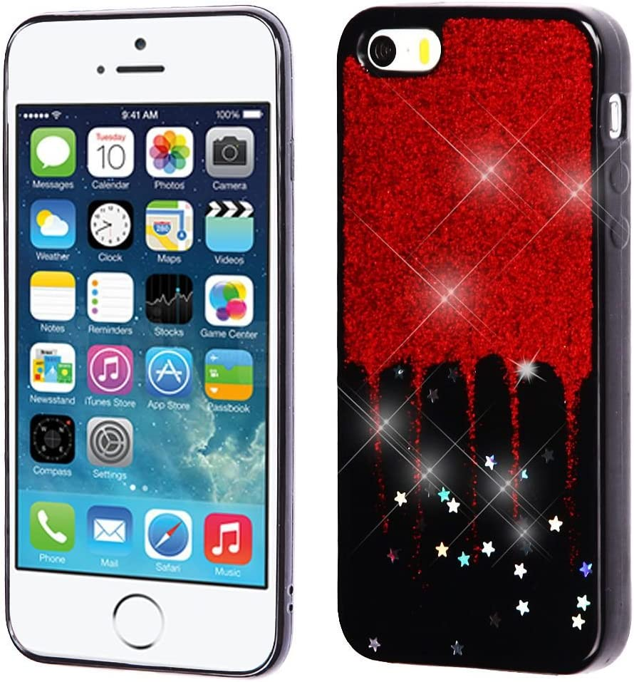 iPhone 5/5S/SE Case, Mybat Glitter Stars TPU Rubber Candy Skin Case Cover for Apple iPhone 5/5S/SE, Red/Black