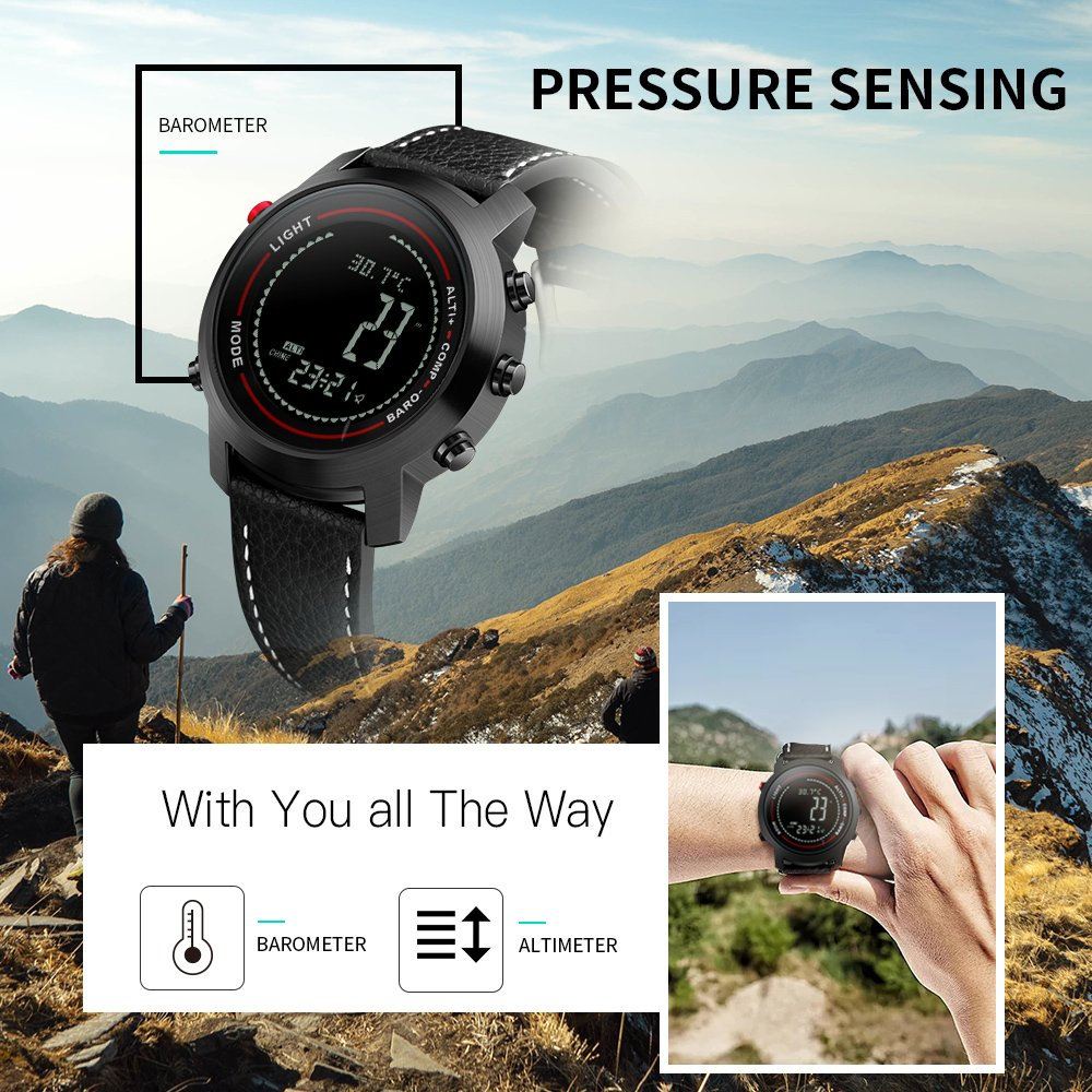 Amazon.com: Men Digital Watches with Compass Pedometer Altimeter Barometer Black Leather Band: Watches