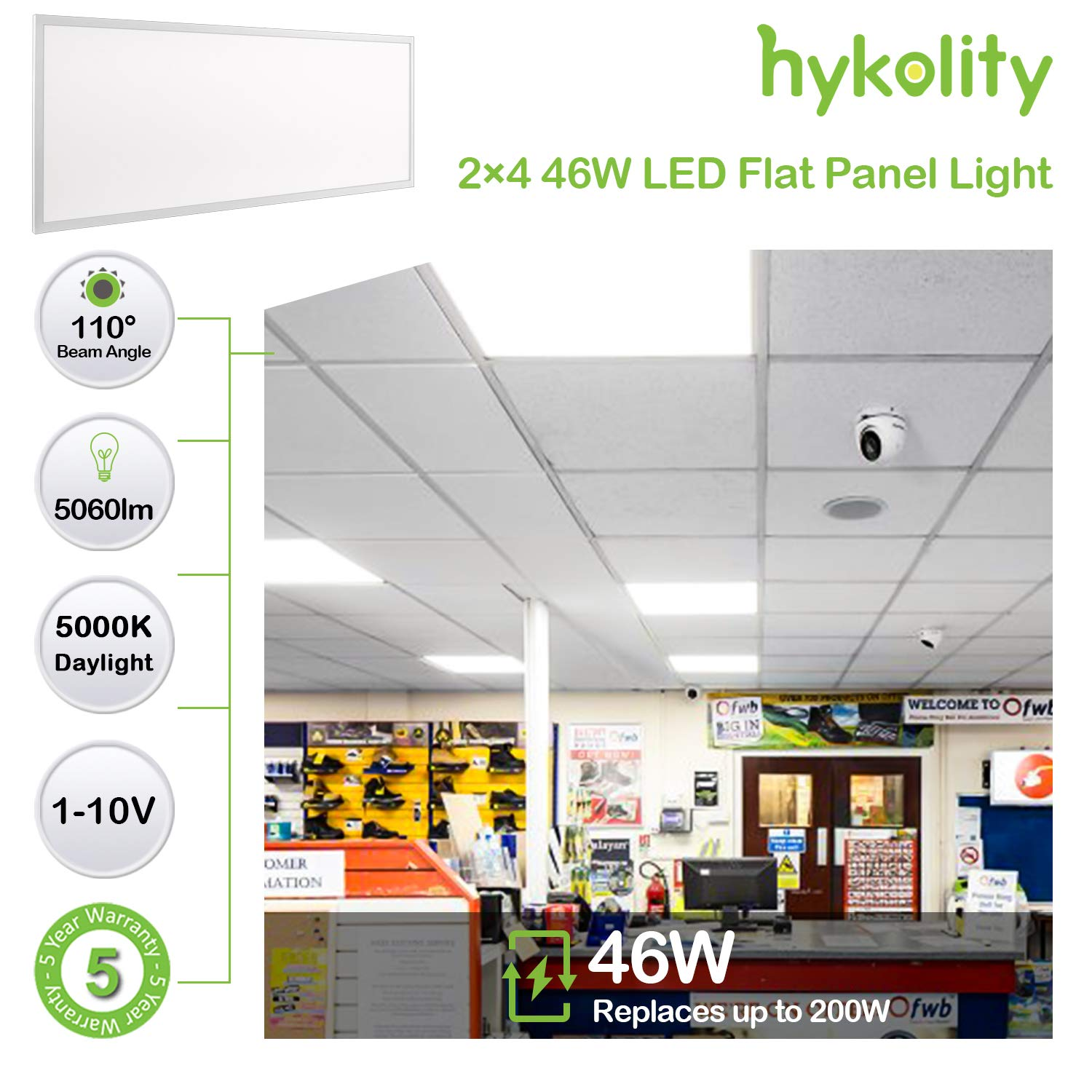 Hykolity 6 Pack 2x2 FT 40W 5000lm Lay-in LED Troffer Panel Light, 1-10V Dimmable Recessed Edge-Lit Troffer Fixture, Drop Ceiling Flat Panel Light, Repalce 2-Lamp T8 Fluorescent Troffer by hykolity (Image #3)