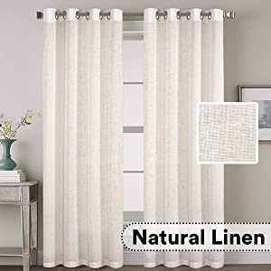 """H.VERSAILTEX Grommet Privacy Linen Curtains - 2 Pieces - Total Size 104 Inch Wide (52 Inch Each Panel) - 96 Inch Long - Elegant, Light Filtering Panel Drapes for Bedroom (52"""" W x 96"""" L, Natural)"""