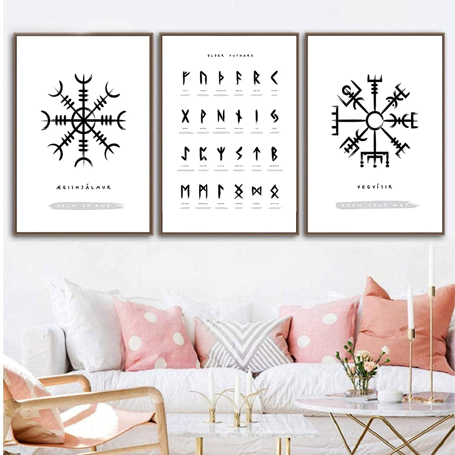 Modern Canvas Printing Viking Old Norse Elder Futhark Runes Wall Art Pictures Canvas Painting Living Room Decor 20x28inchx3pcs No Frame
