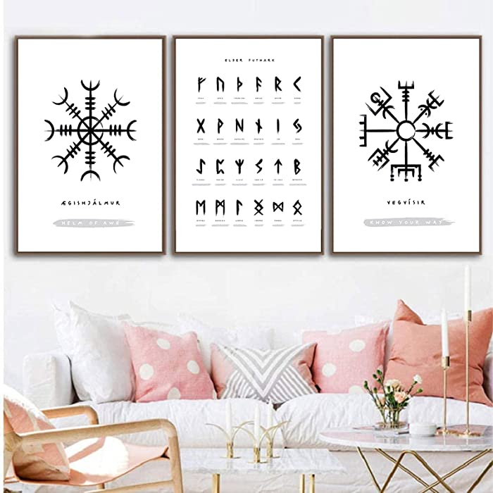 Modern Canvas Printing Viking Old Norse Elder Futhark Runes Wall Art Pictures Canvas Painting Living Room Decor 16x24inchx3pcs No Frame