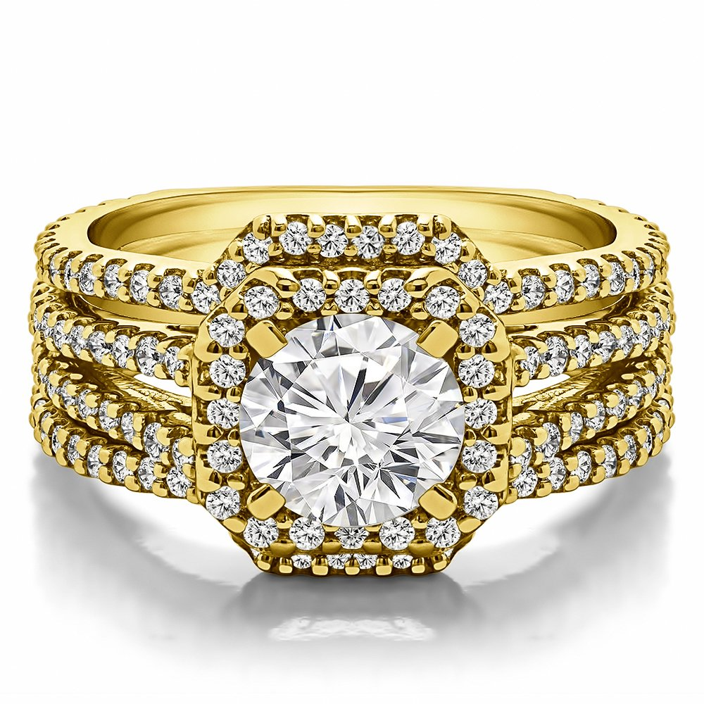 CZ Halo Engagement Ring and Ring Guard Set made in Yellow Plated Sterling Silver (2 Pieces) (1.78ct. twt. Cubic Zirconia)