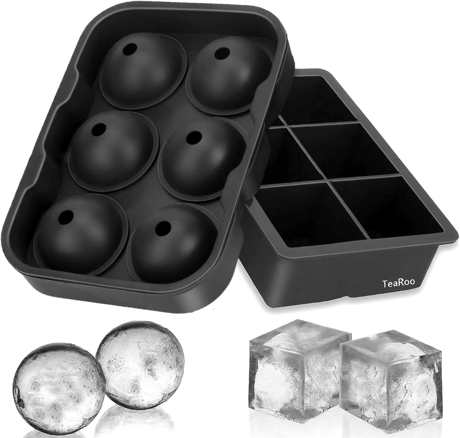 Ice Cube Trays Silicone Set of 2, TeaRoo Sphere Ice Ball Maker with Lid and Large Square Ice Cube Molds for Whiskey, Reusable and BPA Free
