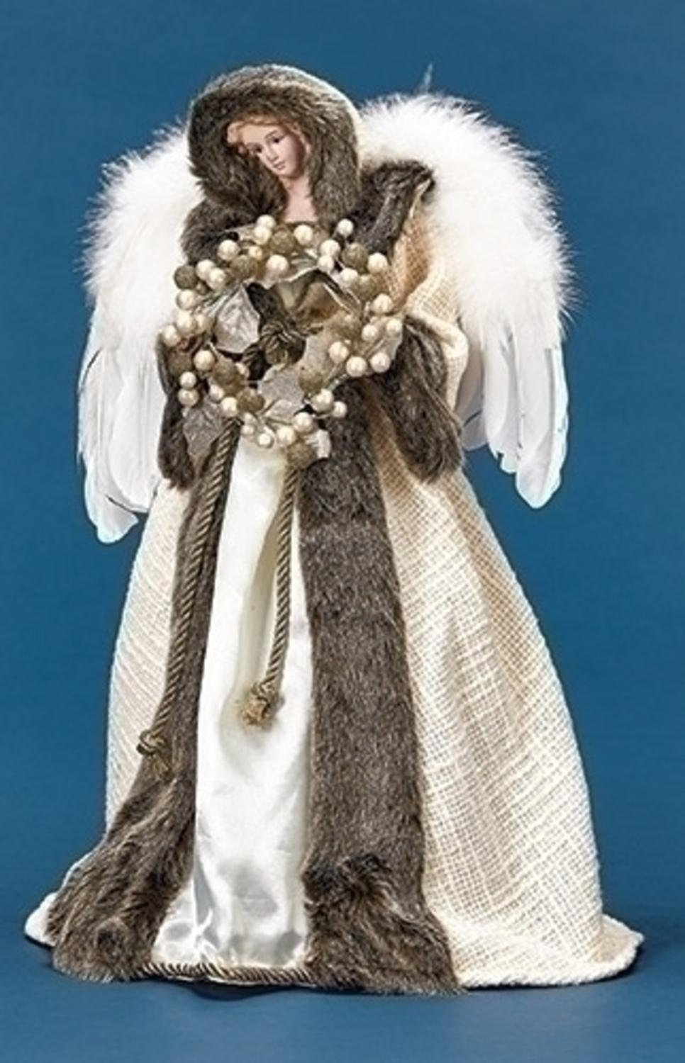 Roman 18.5'' Ivory and Faux Fur Angel with Wreath Christmas Tree Topper - Unlit