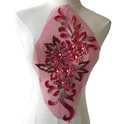 8f38b1ec8f080 Shimmer Burgundy 3D Flower Lace Applique Crystal Sequined Embroidery Lace  Patch Wedding Motif Sew on Dress Gown Costumes