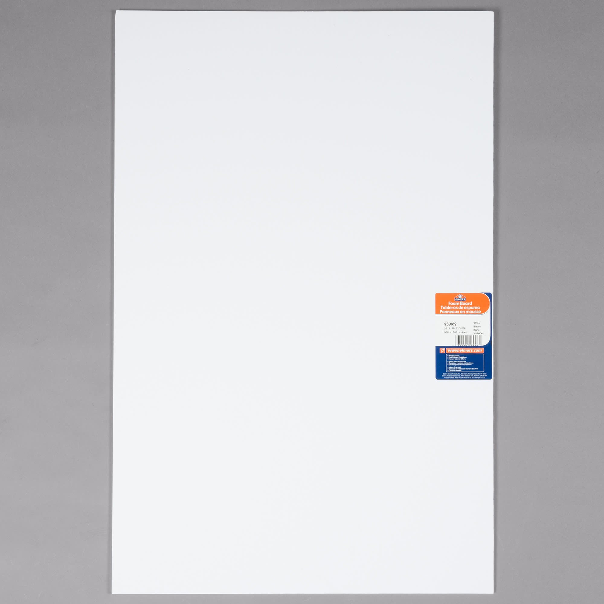 TableTop King 950109 20'' x 30'' White Polystyrene Foam Board - 25/Case