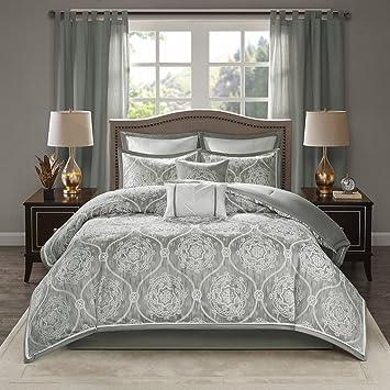 Amazon.com: Madison Park Dora 8 Piece Jacquard Bedding ...
