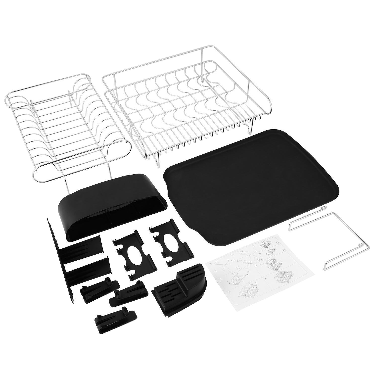 Mewalker 2 Tier Dish Drying Rack 304 Stainless Steel Professional Dish Rack with Microfiber Mat Drain Board and Cutlery Holder, Black by Mewalker (Image #9)