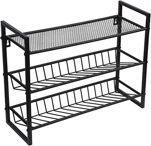 3 Tier Spice Rack Herb Organiser Shelf Free Standing Kitchen Storage Stand Black Powder Coating