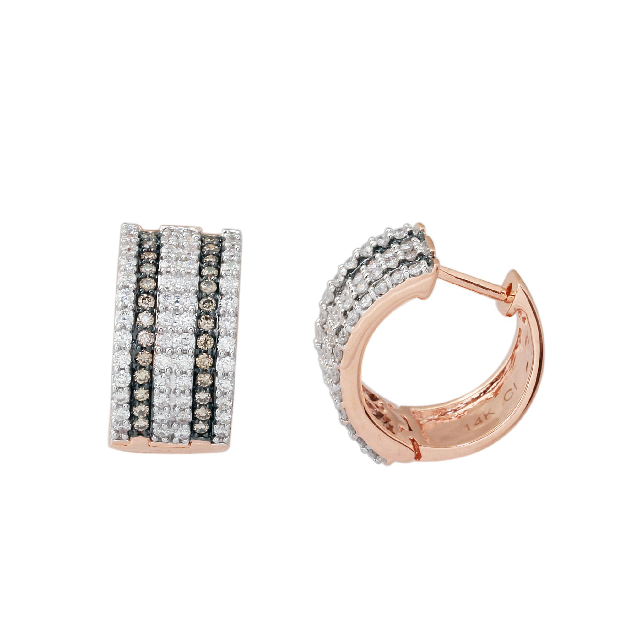 1.0 Cttw Brown And White Round Diamond Small Hoop Earring