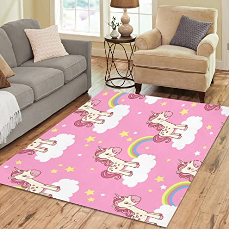 Amazon.com: InterestPrint Pink Cute Unicorn Area Rugs Carpet 7 x 5 ...