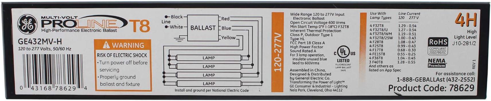 4 lamp electronic ballast wiring diagram general electric ge432mv h 4 lamp electronic ballast  t8  120 277v  ge432mv h 4 lamp electronic ballast  t8