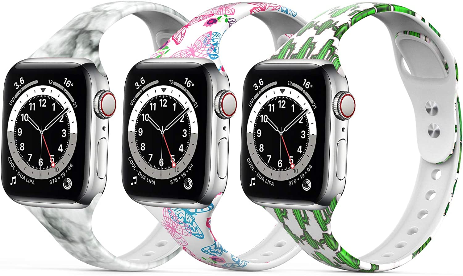 Floral Watch Bands Silicone Pattern Printed Sport Compatible with Apple Watch Band 38mm 40mm 42mm 44mm Fadeless Thin Replacement Strap for Iwatch Series SE 6/5/4/3/2/1