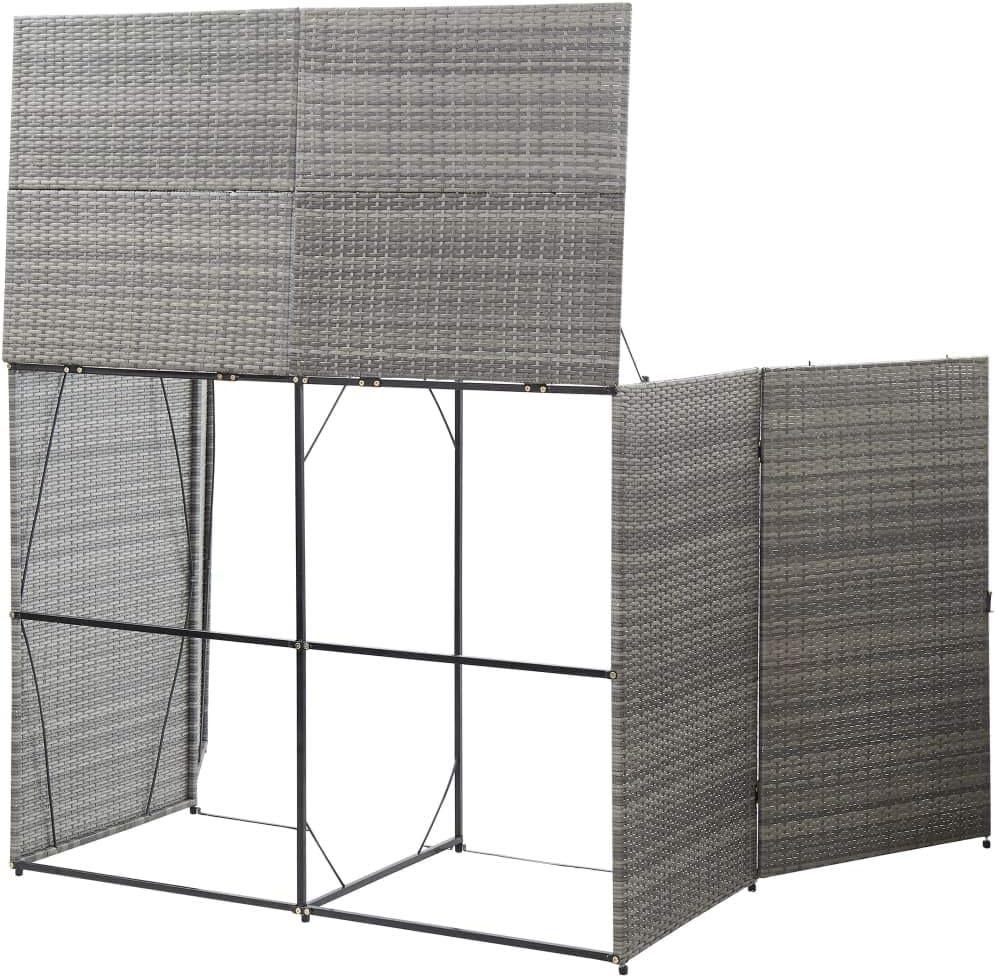 vidaXL M/ülltonnenbox f/ür 2 Tonnen M/ülltonne M/üllbox M/ülltonnenverkleidung Doppelbox M/üllcontainer Ger/ätebox Anthrazit 153x78x120cm Poly Rattan