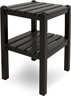 product image for POLYWOOD TWSTBL Two Shelf Side Table, Black