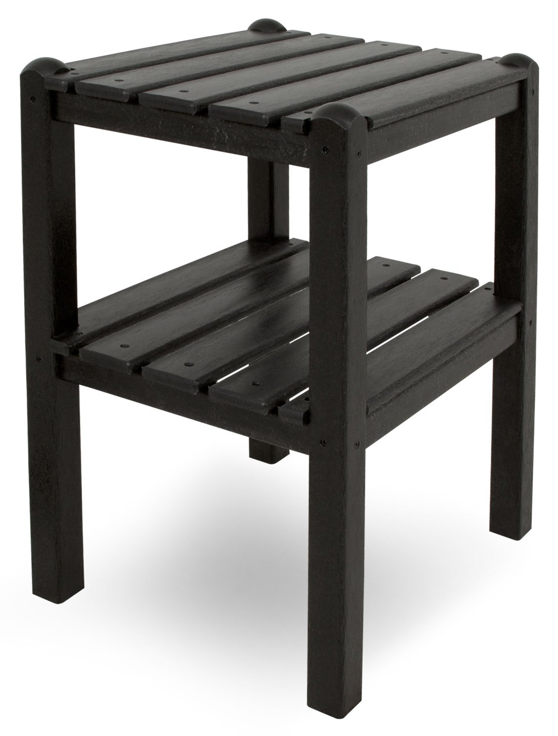 POLYWOOD TWSTBL Two Shelf Side Table, Black