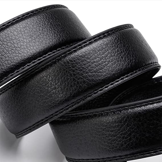 Hommes solide boucle en cuir véritable sangle de luxe avec automatique à  cliquet en cuir mâle ceinture Vintage Jeans , 130cm  Amazon.fr  Sports et  Loisirs e68d7be4594