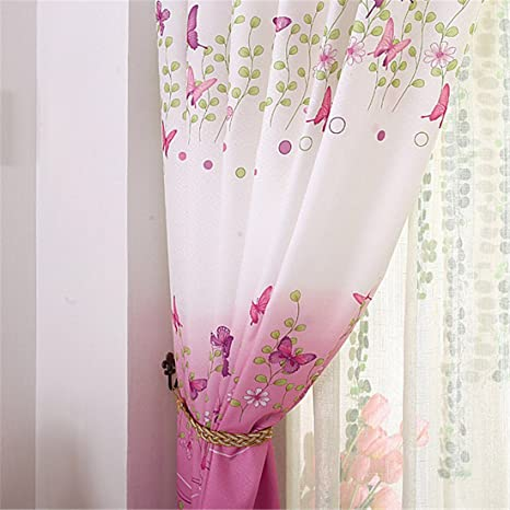 FREE P /& P THEA FLORAL READY MADE BUTTERFLY LINED RING TOP CURTAINS