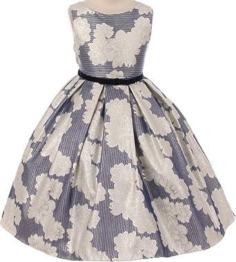 59891be8637 BNY Corner Flower Girl Dress Tea Length Pattern Spring Collection For  Little Girl Navy 2 KD