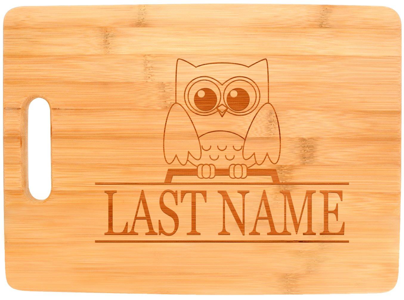 Customized Last Name Cute Owl Wedding Gift Personalized Big Rectangle Bamboo Cutting Board
