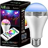 LE LED Bluetooth Smart Birne RGB Lampe mit Musik-Lautsprecher 7W, ersetzt 35W Glühbirne, 350lm Farbwechsel und dimmbar mit Smartphone APP, iPhone und Android, Deko Weihnachten Ambientbeleuchtung Party