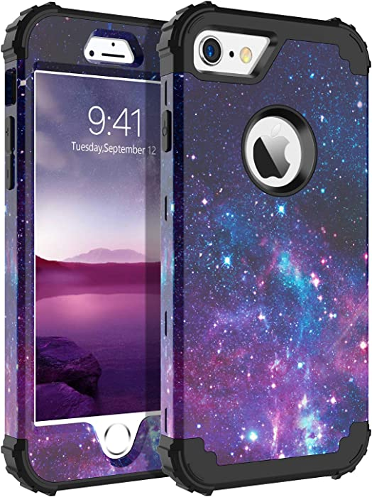 BENTOBEN Case for iPhone 6S/iPhone 6,3 in 1 Starry Space Design Shockproof Hybrid Hard PC Soft Silicone Bumper Heavy Duty Rugged Non-Slip Full-Body Protective Case for iPhone 6/6S (4.7 inch),Space