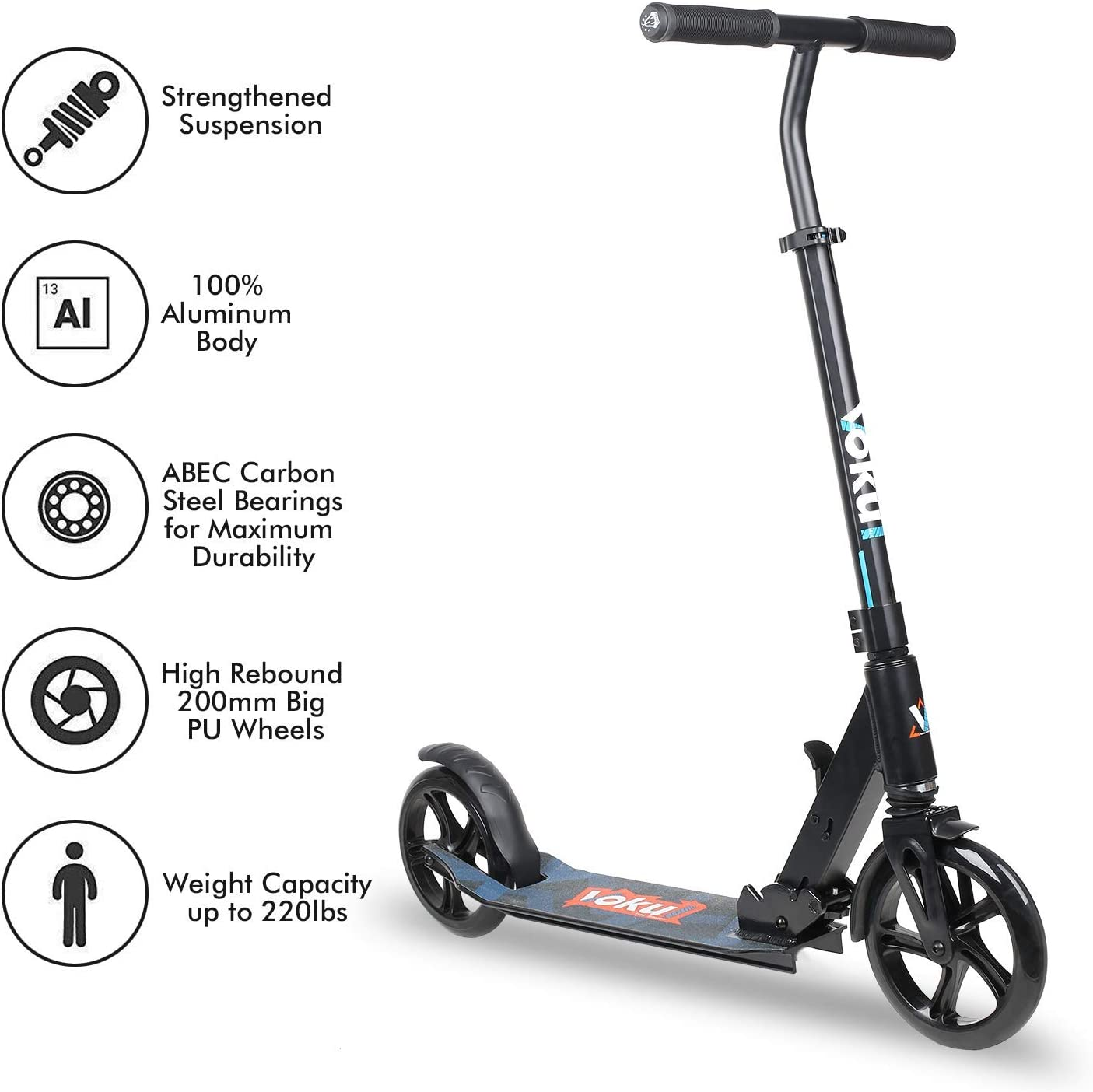 Adjustable Handlebars Range from 90-105cm; Shock Absorption System VOKUL Foldable Kick Scooters for Adults//Teens//Kids; One-Second Easy Folding Mechanism Up to 220lbs