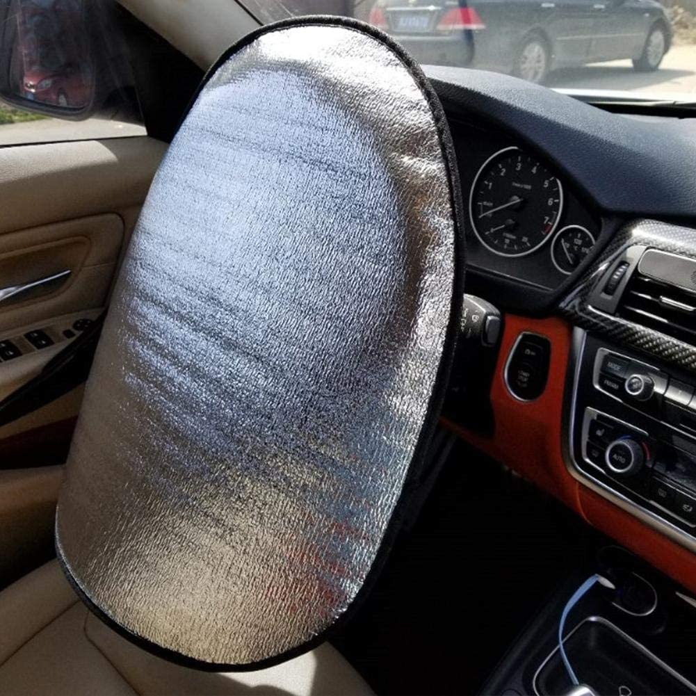 Ecisi Car Window Shade ,Steering Wheel Cover Sun Shade,Pearl Cotton Steering Wheel Cover Sunscreen Insulation Electrostatic Mesh Side Sunshade,You Can Mix and Match 2 Pack