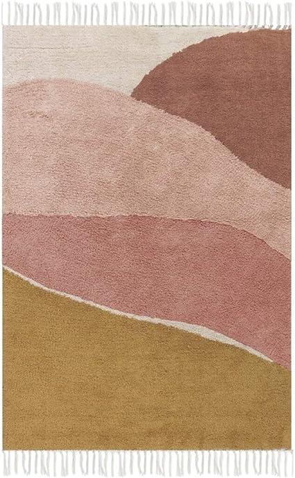 Little Dutch RU10210300 Teppich Regenbogen beige rosa ockergelb Mint 130x90 cm