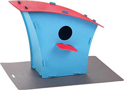 Red Cube Plástico Azul Rojo para casa de pájaros, Caja de Nido y decoración para el hogar al Aire Libre para pájaros: Amazon.es: Jardín