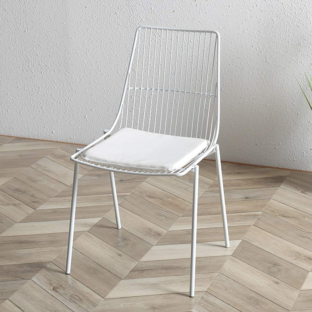 White LRZS-Furniture Nordic Tea Shop Wire Chair Chair Wrought Iron Creative Leisure Cafe Table and Chair Back Chair Designer Chair (color   White)