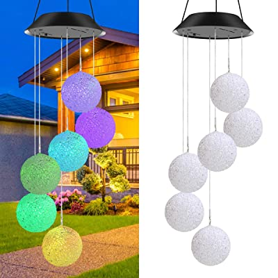 AMILIEe Solar Wind Chime, Color Changing LED Solar Crystal Ball, Mobile Waterproof Color Changing Wind Chimes Spiral Spinner Decorative for Yard Decorations/Night Garden Decoration : Garden & Outdoor