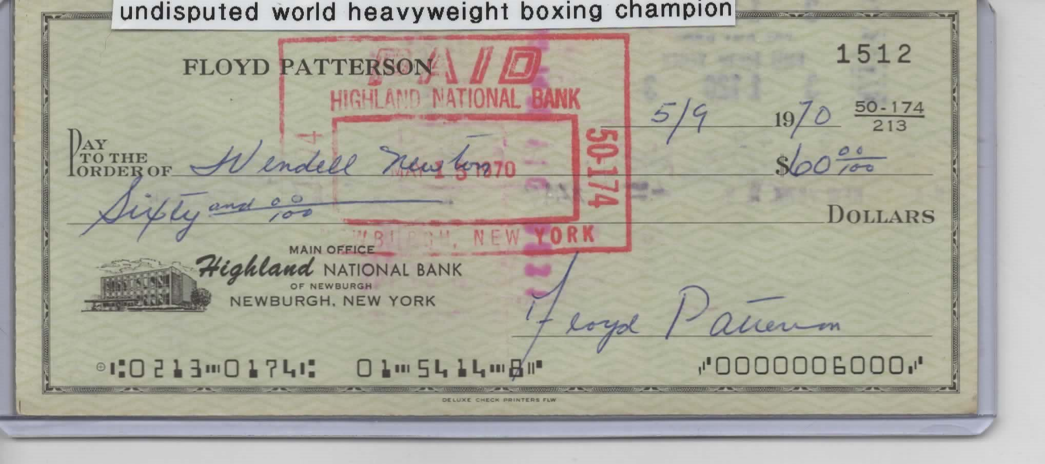 FLOYD PATTERSON SIGNED PERSONAL CHECK