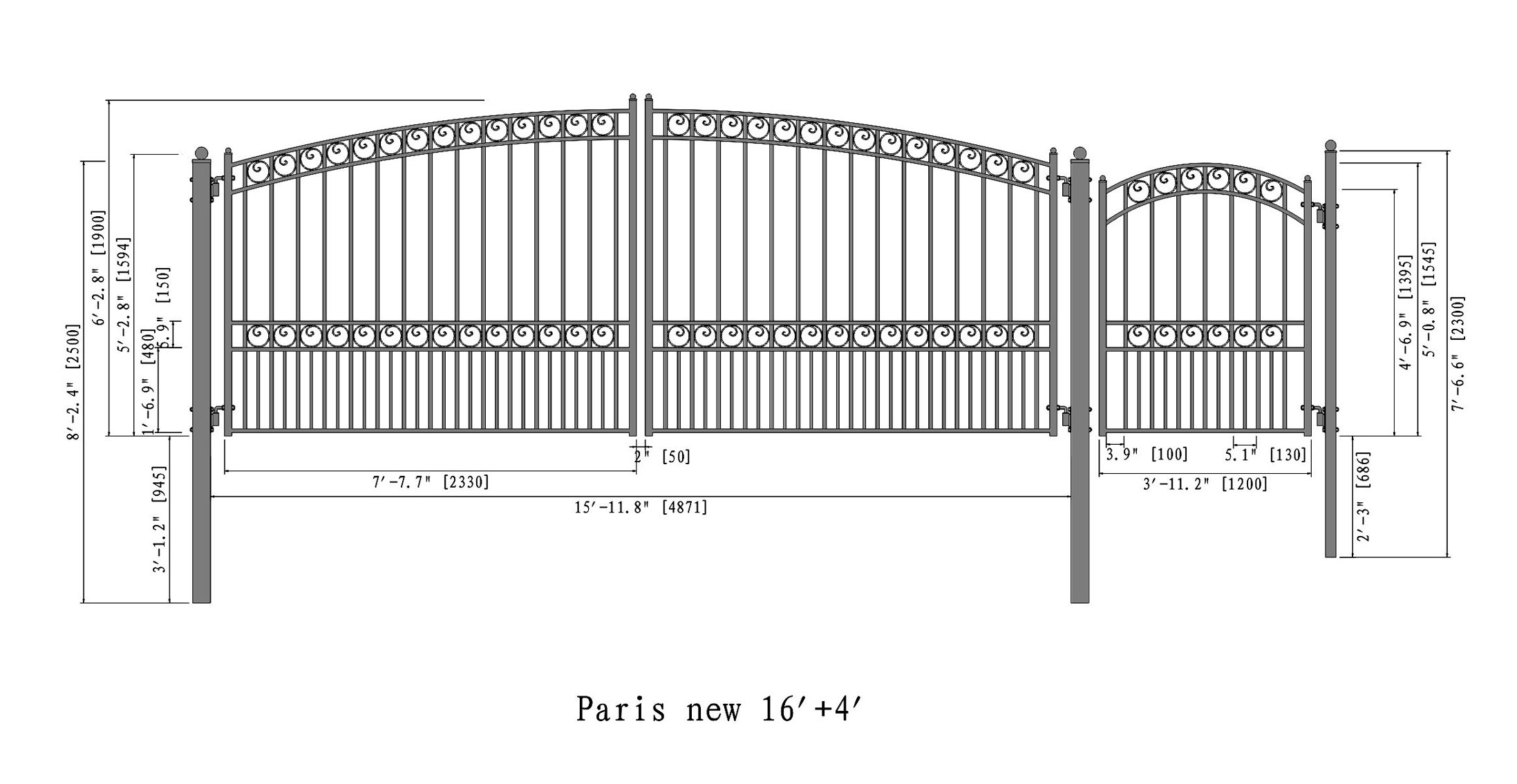 ALEKO Paris Style Iron Wrought Gate Swing Dual Steel Driveway with Pedestrian Gate 4 ft (16 Ft)