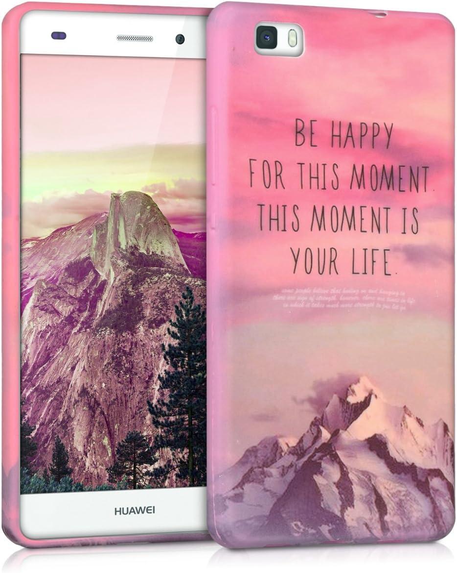 kwmobile Funda Compatible con Huawei P8 Lite (2015) - Carcasa de TPU Be Happy en Rosa Claro/Violeta/Coral