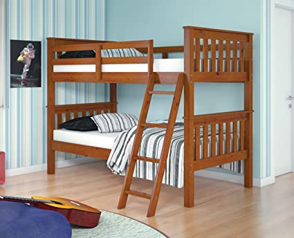 Amazon Com Bunk Bed Twin Over Twin Mission Style In Light Espresso