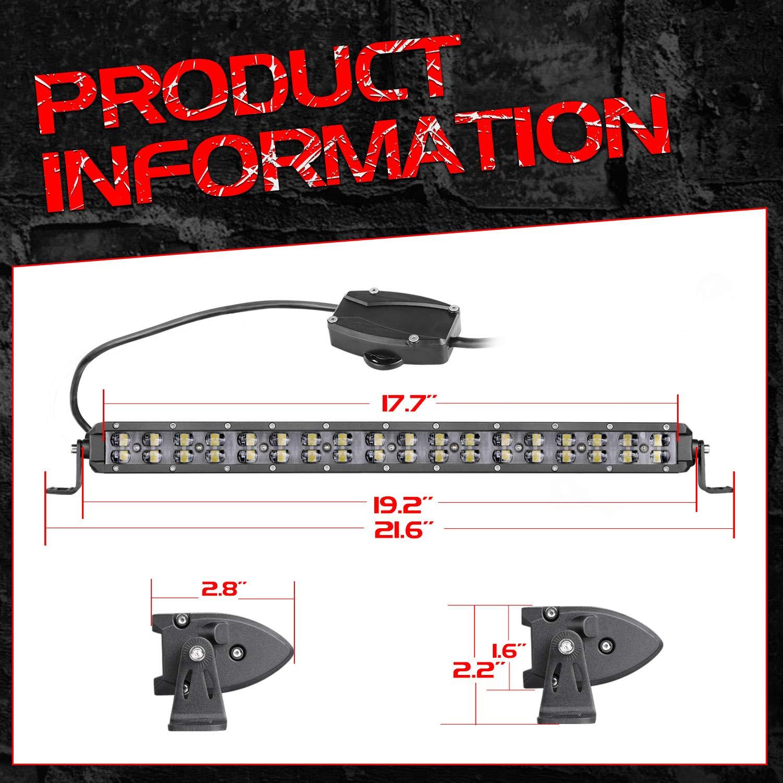 "LED Emergency Light Bar,OFFROADTOWN 18/""108W White Red Amber Blue Strobe Light Bar Off-road warning light Signal LED Light Bar for Yamaha Can-Am Polaris RZR UTV ATV Racing Vehicles"