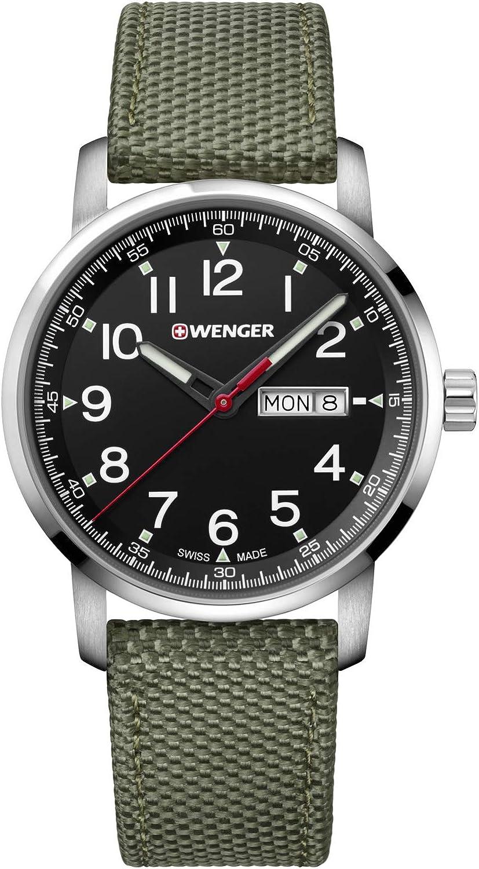 Wenger Hombre Attitude - Reloj Suizo de Cuarzo analógico de Acero Inoxidable/Nylon 01.1541.109