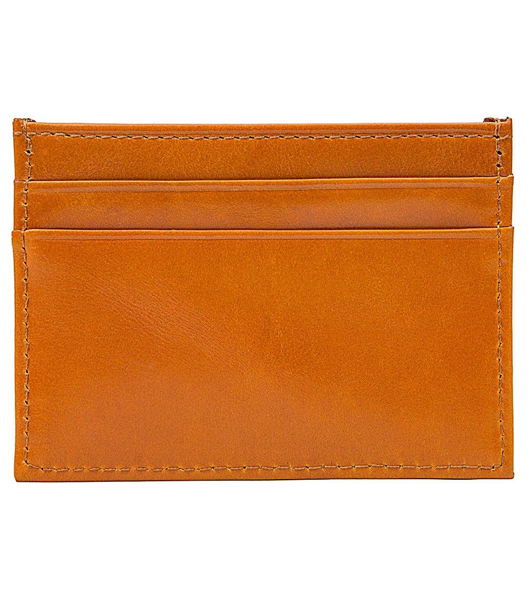 RFID Blocking Top Grain Leather Front Pocket Minimalist Wallet Slim Secure Card Holder, Free Gift Box, Yellow, b1w024yl