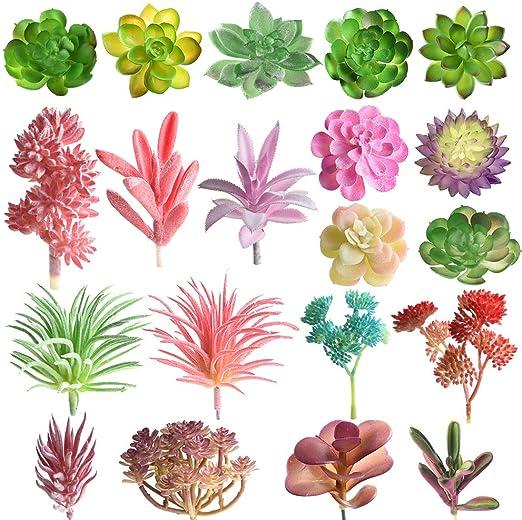 16 Pcs Random Size Artificial Succulent Plants Unpotted Succulents Picks Faux