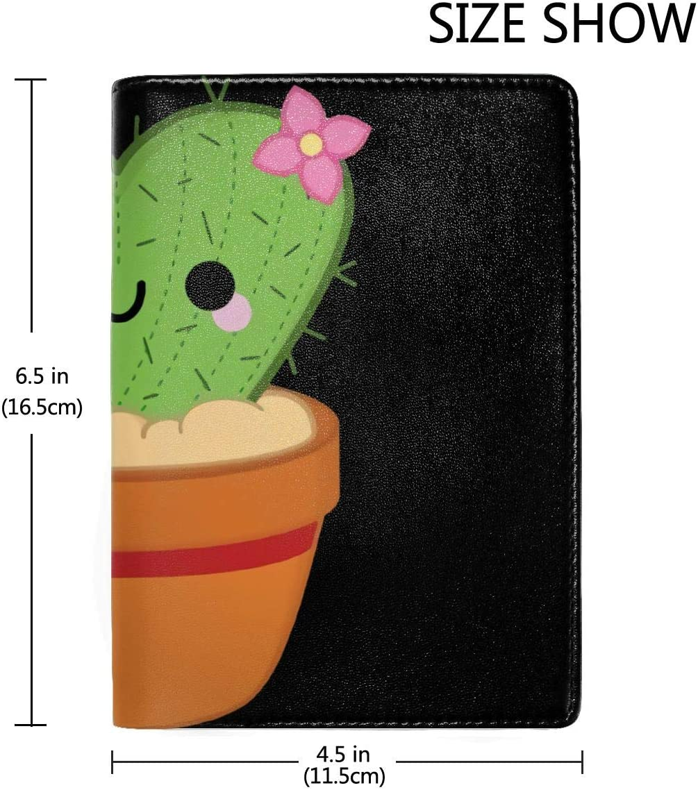 Cactus Heart Shape Fashion Leather Passport Holder Cover Case Travel Wallet 6.5 In